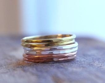 Sterling Silver Copper Brass Stacking Ring  Set