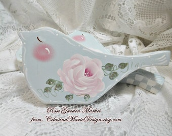Winter Snow Bird Shelf Sitter, Crystal Blue, Swiss Dots and Shabby Cottage Roses and Stately Checked Design, ECS