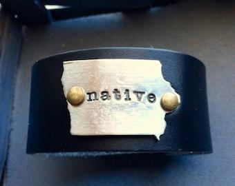 Personalized State of Iowa Leather Cuff-Iowa Cuff-Iowa Native-Iowa Jewelry-Iowa Bracelet-Iowa Gifts-Iowa Girl - Iowa Pride