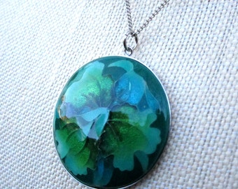 Greenland Necklace - cloisonne pendant has blue green orchid on silver necklace - Free Shipping to USA