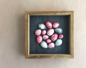 Pink and grey speckled plaster egg framed wall art: handmade in Australia by Kuberstore