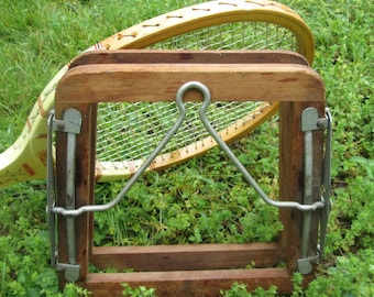 Vintage Tennis Racket Press - Wood and Metal Racket Press - Sports Collectibles