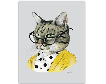 Gift for her - Tabby Cat art print - Modern kid art - Pet Portrait -  Animal Art - Modern Decor - Ryan Berkley Illustration 11x14