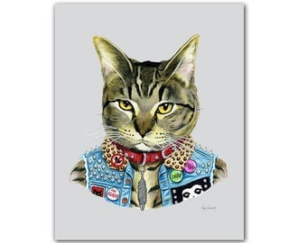 Punk Cat, Art Print, Pet Portrait, Animals in Clothes, Animal Art, Punk Rock, Tabby Cat, Ryan Berkley Illustration, 8x10, Cat Lover Gift
