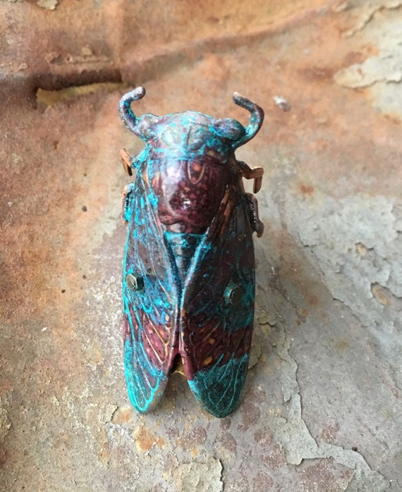 CICADA RING, Turquoise, Copper & Brown XVIII, Insect Jewelry, Insect Ring, cicada  Jewelry , Statement Ring, Gothic