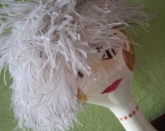 Frank Olive  Bonwit Teller Hat Giggly Ostrich Plume Covered Feather Derby Church