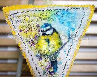 LITTLE BIRD DECORATION. Hand Painted, Embroidered Bird. Blue Tit. Blue Yellow Bird. Humour. Fun Original Gift.