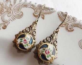 Roses, Petite Enamel Antique Button Earrings