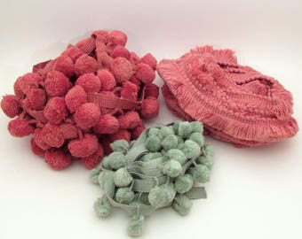 Vintage Upholstery Trim lot - Pompom - Fringe Trim - Pom Pom Trim - Dusty Rose Pink - Mint Green - Ball Trim yardage