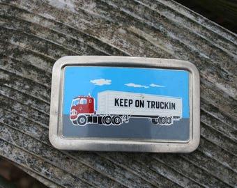Keep on Truckin' trucker belt buckle Fisher USA silvertone