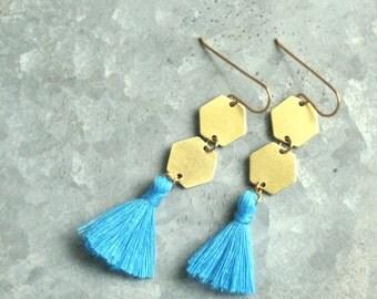 Long Geometric Tassel Earrings, Turquoise Blue Tassels