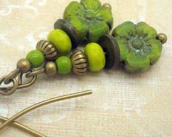 Bohemian Earrings in a Stacked Zen Style with Lime Green Flowers and Chartreuse Glass Beads
