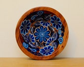 Beautiful blue handpainted wood Mexican bowl. Vintage wood bowl, Mexican folk art
