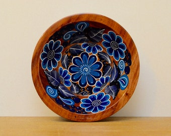 Beautiful blue handpainted wood Mexican bowl. Vintage wood bowl, Mexican folk art