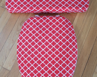 Red Bathroom Toilet Seat Cover Set