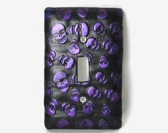 Skulls Switch Plate,  Light Switch Plate, Skull Art, Light Switch Cover, Purple Skulls, Purple Switch Plate