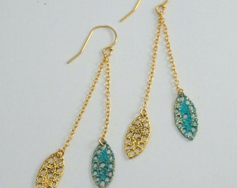 Lace pod double dangle earrings in verdigris blue patina and 14k yellow gold filled.