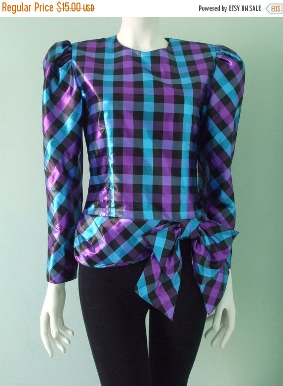 Spring Sale Iridescent Plaid Blouse with Bow