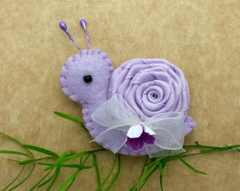 Handmade Hair Clips, Lavender Snail hair clip or hair tie, Handmade Felt and Satin padded Snail hair clip, or Snail bobble