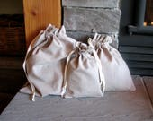 Organic Fabric Gift Bags, Washable, Drawstring, 6x8, 10x10, 12x14, Hemp, Cotton, Linen, Reusable