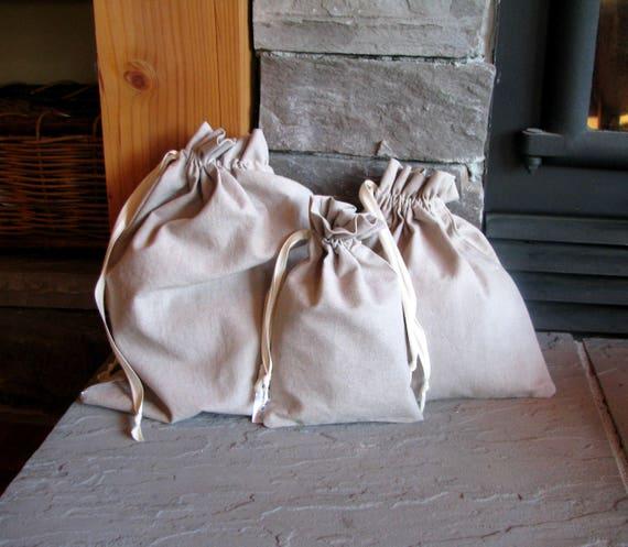 Organic Fabric Gift Bags, Washable, Drawstring, 6x8, 10x10, 12x14, Hemp, Cotton, Linen, Reusable