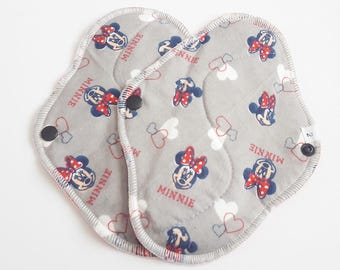 Set of 2 Minnie Mouse Printed Flannel Reusable Cloth Mama Pads . 8 Inch FREE Shipping