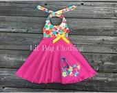 Poppy Troll Personalized Dress, Poppy Troll Birthday Party Dress, Poppy Troll Birthday Party Outfit, Summer Girl Poppy Troll Dress