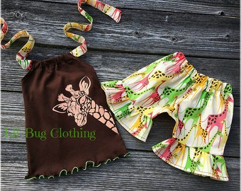 Giraffe Zoo Girl Outfit, Giraffe Print Boutique Girl Outfit, Giraffe Girl Clothing, Toddler Girl Clothes