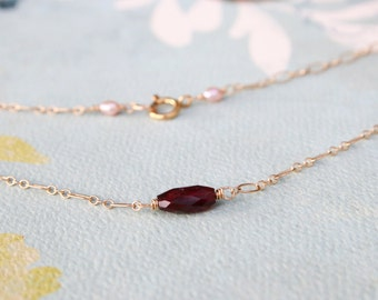 Faceted Garnet Gold Necklace, Simple, Minimalist, Peach Freshwater Pearls, Holiday Gift for Her