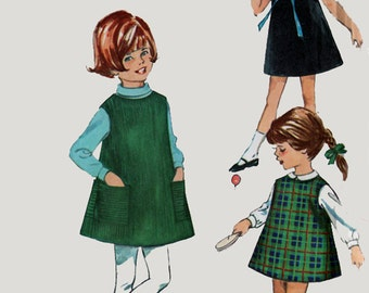 Vintage 1960s JIFFY Mod A Line Dress or Jumper Sewing Pattern Simplicity 6113 60s Mod Pattern Toddler Size 6