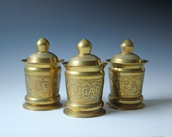Set of 3 solid brass COFFEE, SUGAR, TEA lidded jars containers - bohemian style tableware brassware