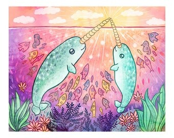 Narwhal Magic - Narwhal Art Print, Narwhal Illustration, Nautical Art Print, Nursery Decor, Sea Creature Art Print, Ocean Art, Kids Art