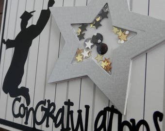 Graduation Greeting Card Graduate Black and Silver Stripe With Silver Shaker Star