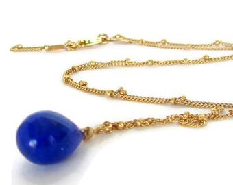 Lapis Lazuli Necklace, Dainty Pendant Blue, Dainty Pendant Gold, December Birthstone, Necklace Navy Blue, Necklace Blue Gold Filled