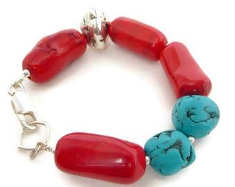 Coral Bracelet, Bracelet Red Coral, Gift Under 50, Bracelet Stone Red, Chunky Bracelet, Boho Bracelet Chunky, Blue Bracelet Red