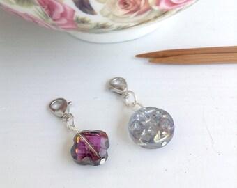 2 Knitting Progress Keppers, Knitting supplies, Blue & Purple Glass Beads Progress Keeper, Yarn Jewelry, Stitch markers, Gifts for Knitters