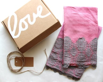 Set of 2 with Gift Box - Pink Hand Dyed Tea Towel with Lace Trim - Mothers Day Gift Giving - Vintage Style Tea Towel