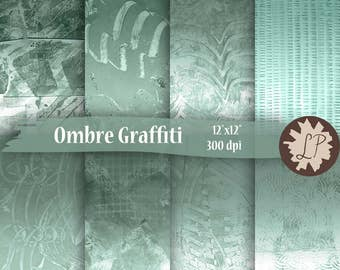 DIY Printable Paper, Teal Watercolour Ombre Graffiti design for mixed media art journaling, blog background, etsy shop banner, scrapbooking