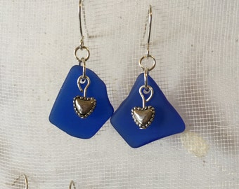 Tiny hearts on blue beachglass earrings with silver plated wires,  vintage broken glass earrings, seaglass inspired