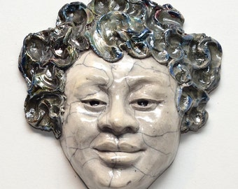 Peaceful Smile Figurative Sculpture in Raku Ceramics With Blue Green Hair and Crackle White Face