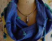 Handwoven Circle Scarf with Art Yarn Highlights