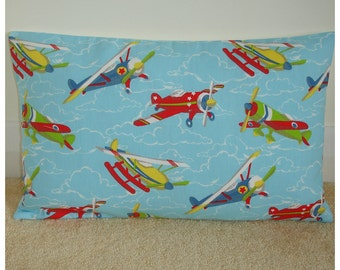 Airplane 12x20 Pillow Cover Oblong Bolster Plane Throw Accent Slip Sham Kid's Aeroplane Cushion Case Child's Playroom Bedroom Planes 20x12