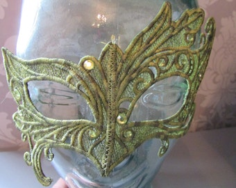 Handmade Embroidered Lace Mask in Varigated Green Thread with Diamantes
