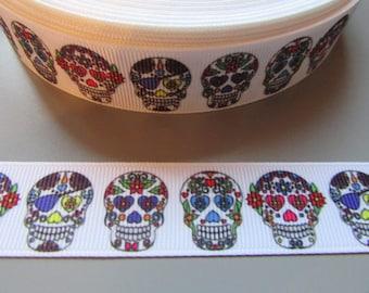 Sugar Skull Calaveras Day of the dead Grosgrain Ribbon x 1 metre