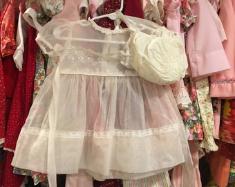 1950s Sheer Dress and Bonnet 9/12 Months