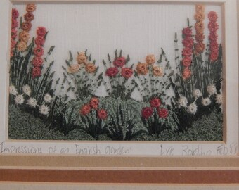 "Vintage Eve Botelho Framed Needlework ""Impressions of an English Garden"""