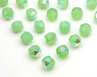 Vintage light green beads, faceted German glass semi-translucent round AB finish, 8mm, 20 pcs