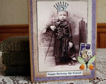 Happy Birthday My Friend card,handmade card,collage card,