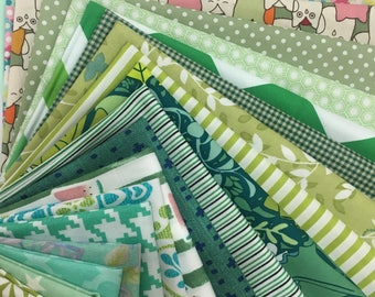 "20pcs Cotton Fabric Scrap Pack - Shade of Green Fabric Pack 5.5"" x 9"""
