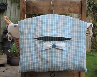 Blue & Cream Gingham Clothespin Bag / Peg Bag